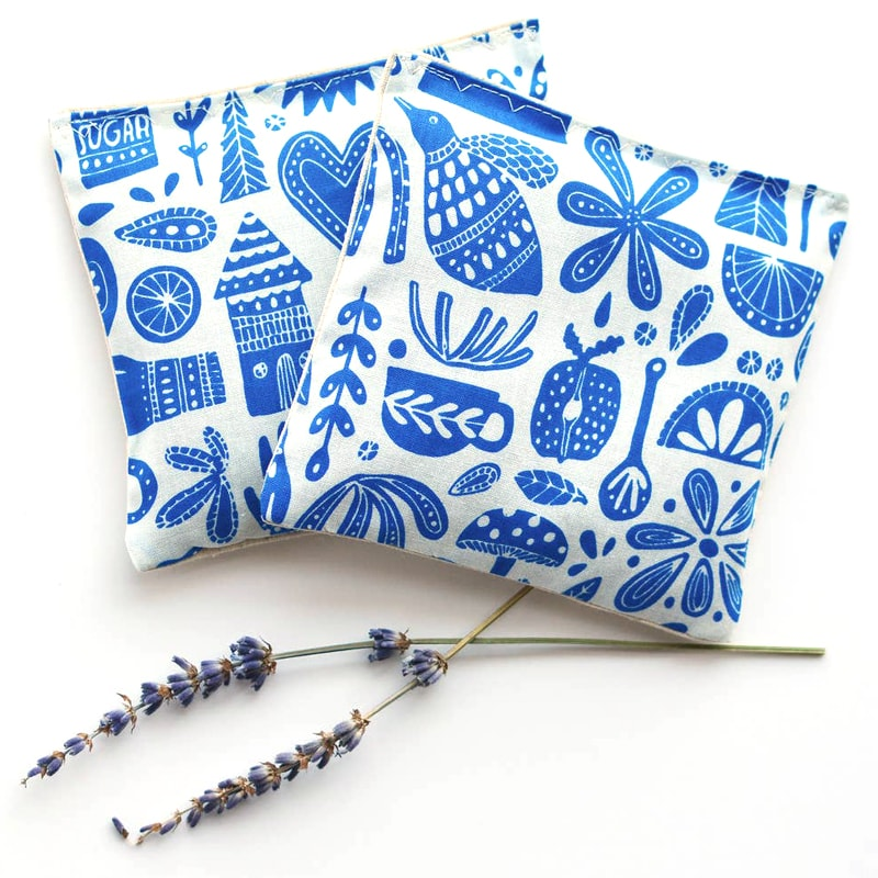 Minor Thread Organic Lavender Sachets in Kindred Fable Blue with 2 sprigs of Lavender