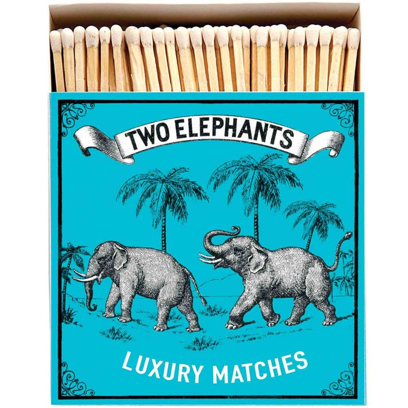 Archivist Two Elephants on Blue Matchbox (125 pcs)