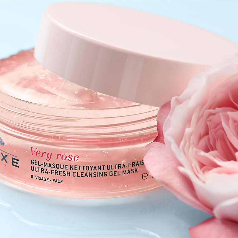Nuxe Very Rose Ultra-Fresh Cleansing Gel Mask jar close-up with rose