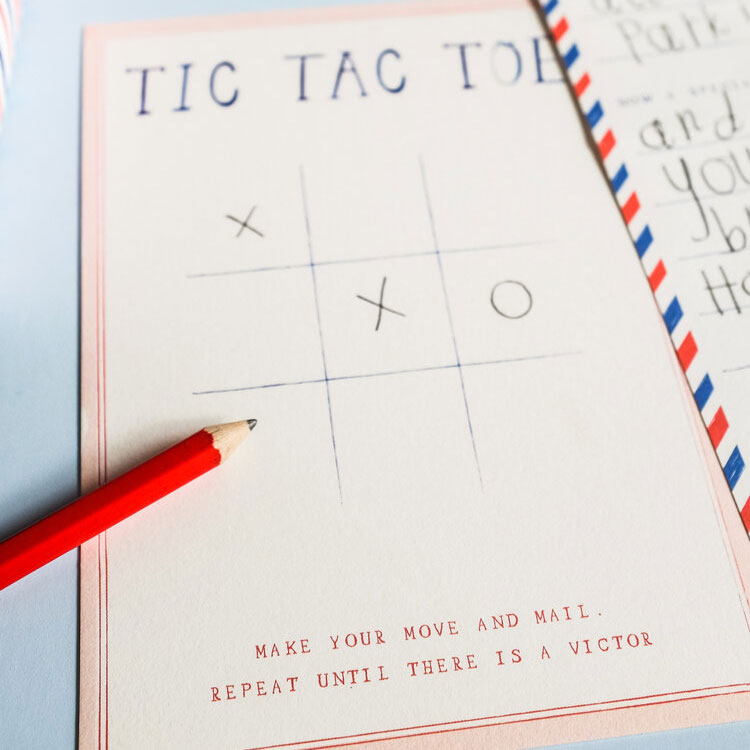 Mr. Boddington's Studio Grandparent + Grandchild Pen Pal Kit - close-up of Tic Tac Toe game