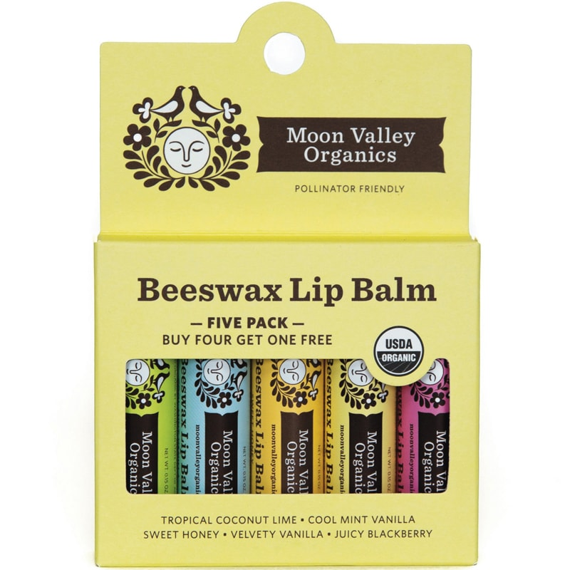 Moon Valley Organics 5 Pack Beeswax Lip Balm (5 x 0.15 oz) in box