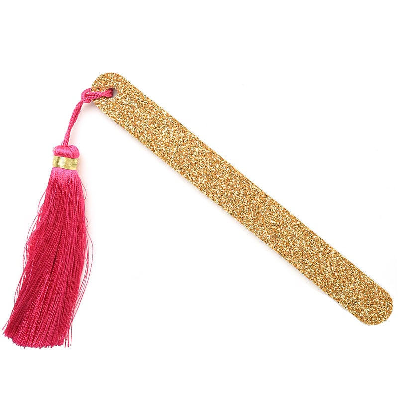 Kure Bazaar Gold Nail File with Pink Pom Pom
