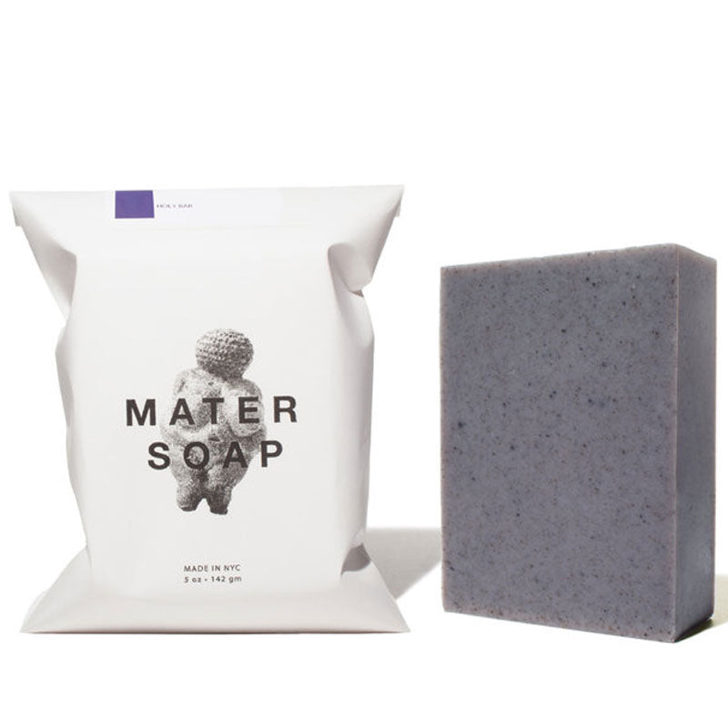Mater Soap Holy Bar Soap beside packaging