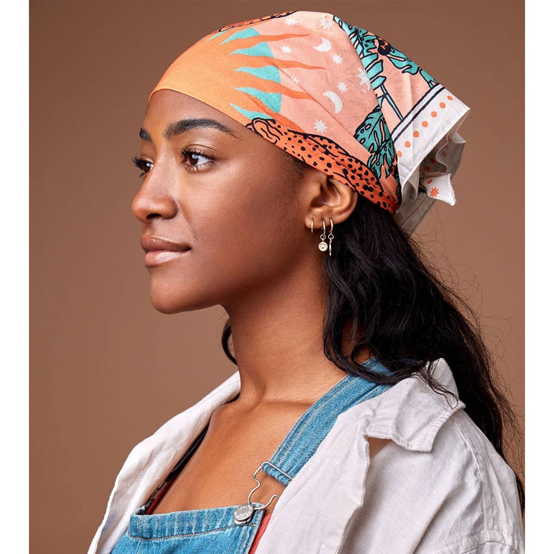 cai & jo The Panthera Bandana on model covering hair
