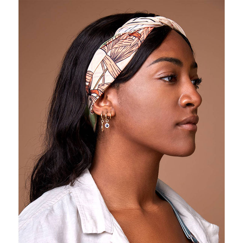 cai & jo The Tropics Bandana on model as a headband