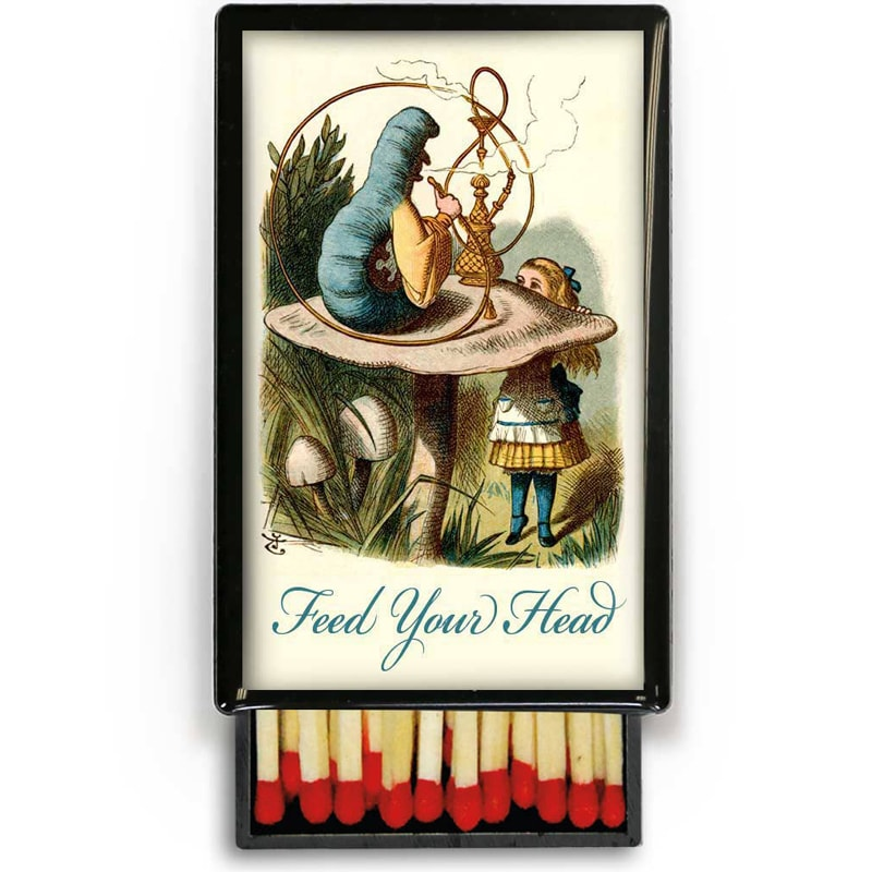 Lucy Lu Designs Small Slide Box of Wooden Matches – Feed Your Head (1 pc)