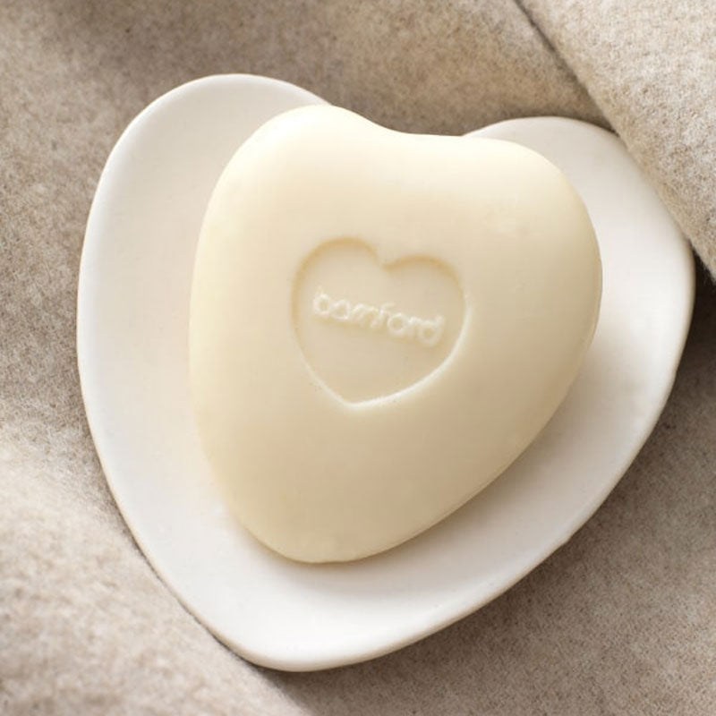 Bamford Heart Shape Soap Dish shown with heart shape soap (sold separately)