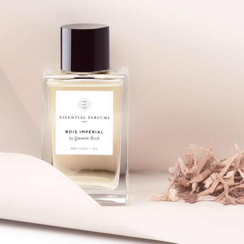 Essential Parfums Bois Imperial Perfume by Quentin Bisch with wood shavings