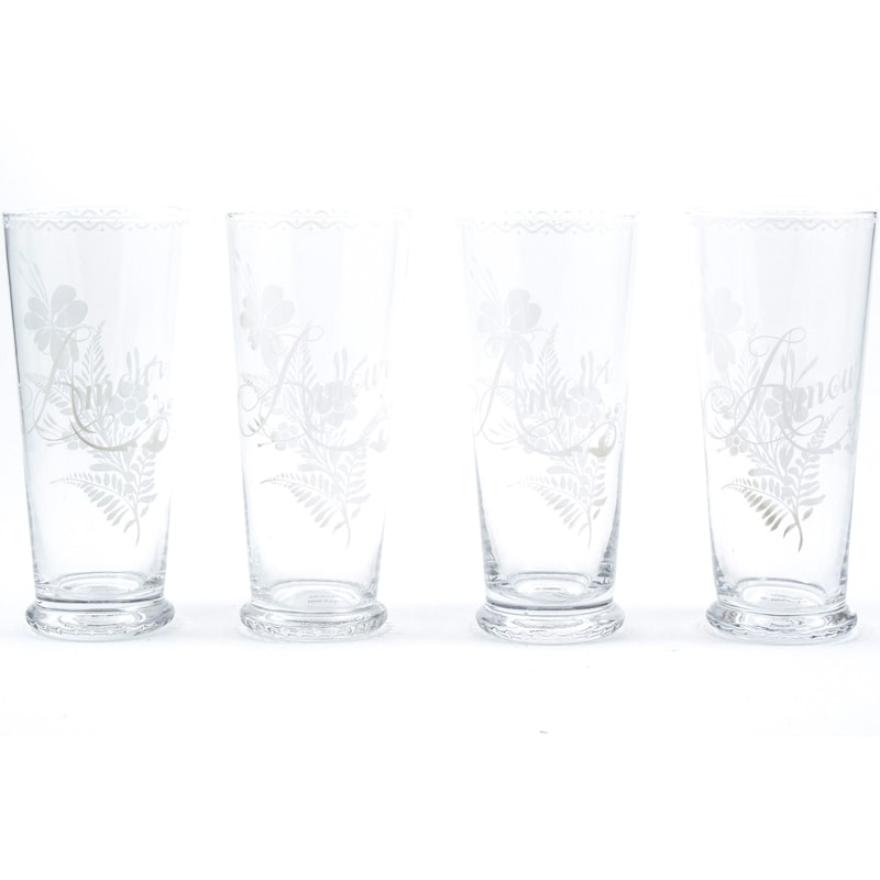 Leona d'Amour Highball Glasses showing all 4 glasses