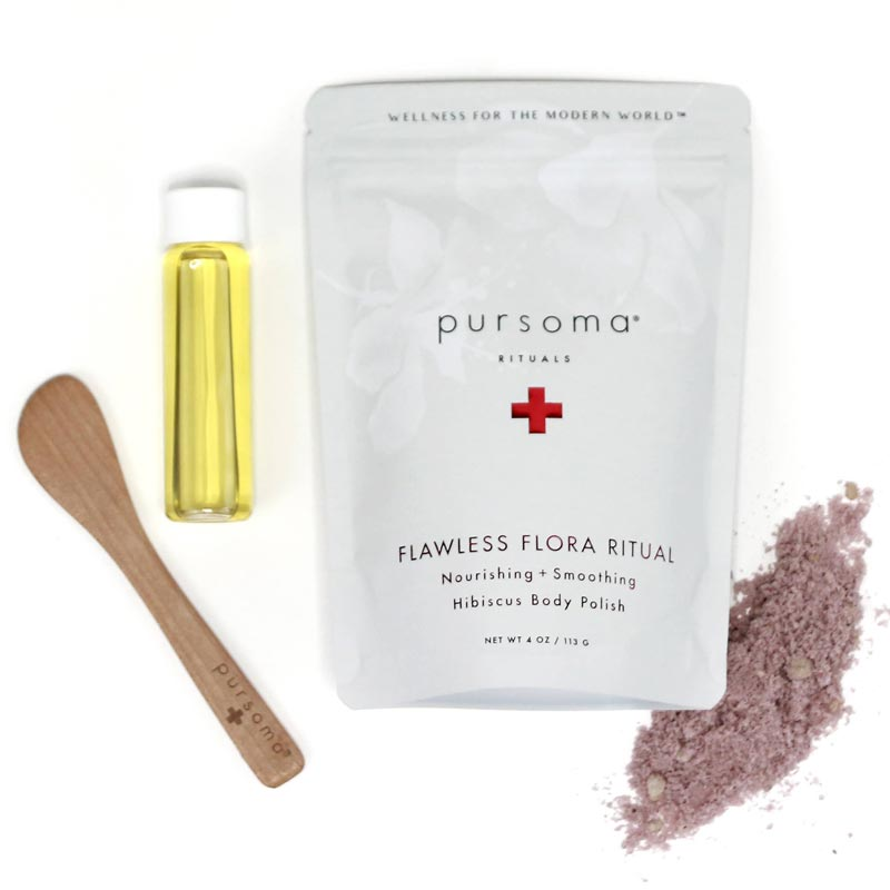 Pursoma Flawless Flora Ritual Body Polish showing package contents and a spill of the scrub
