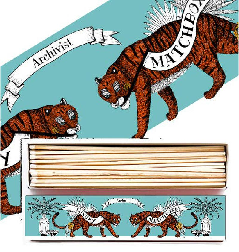 Archivist Long Tiger Match Box (45 matches) showing close-up of box in the background and both front of box and open box in foreground