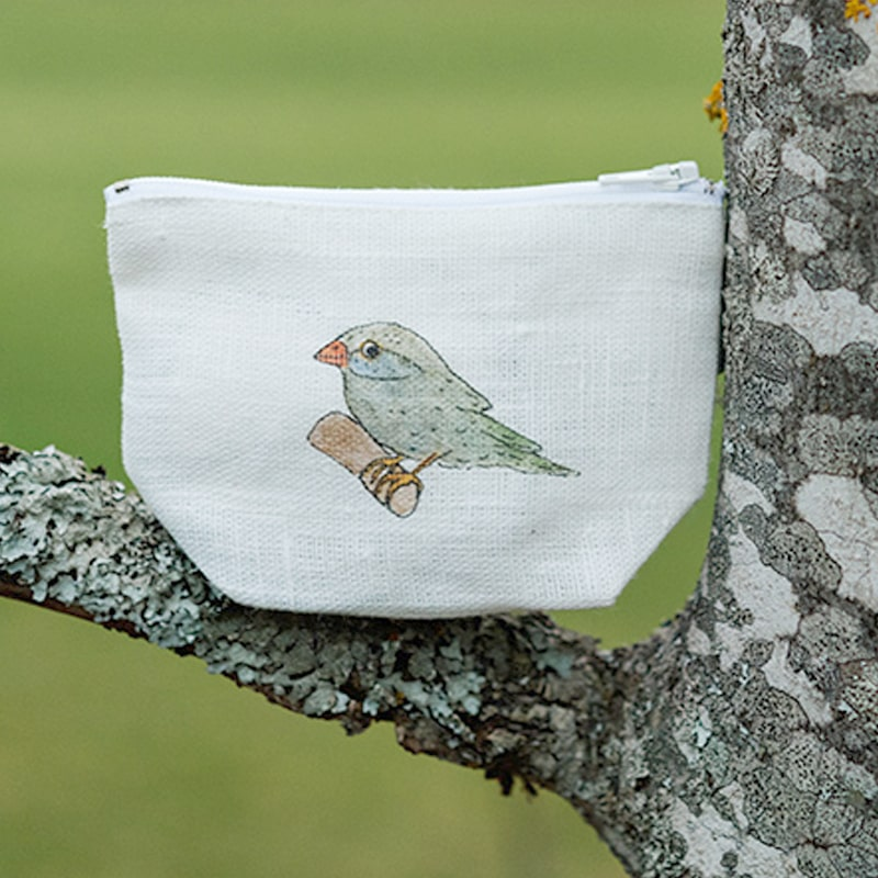 Fog Linen Work Isabelle Boinot Linen Pouch: Bird pictured on a tree branch