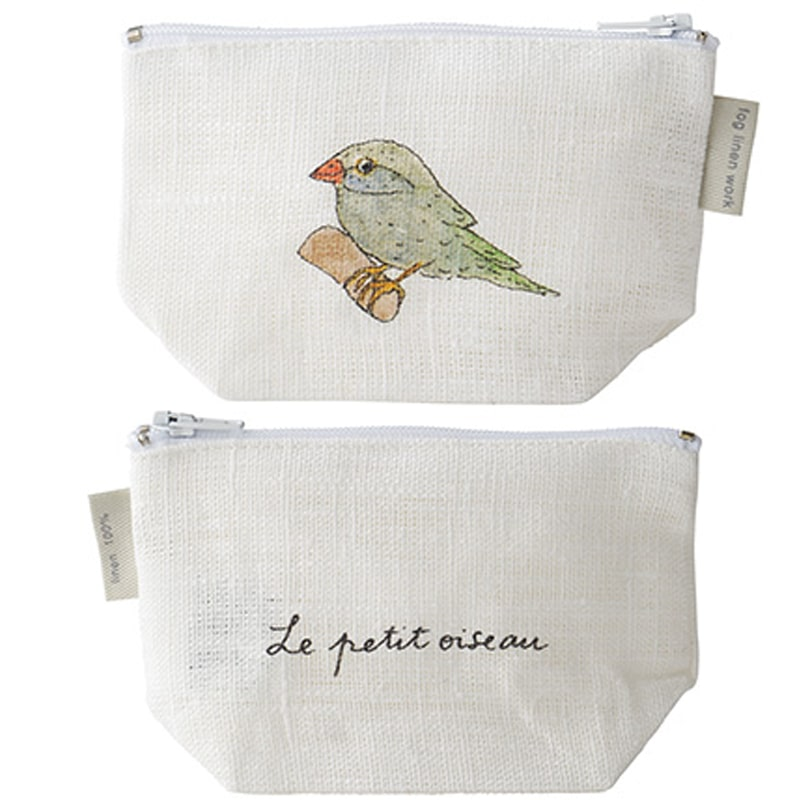 Fog Linen Work Isabelle Boinot Linen Pouch: Bird showing both front and back of pouch. One count.