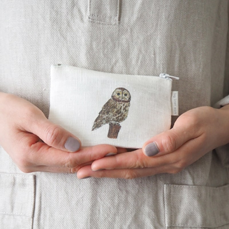 Fog Linen Work Isabelle Boinot Linen Pouch: Owl showing ouch in model's hands.