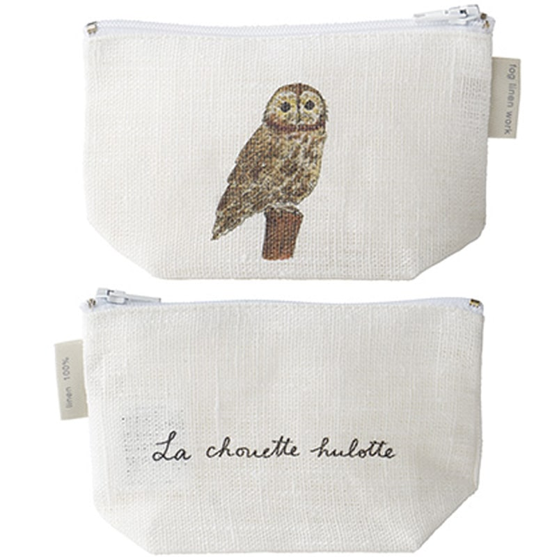 Fog Linen Work Isabelle Boinot Linen Pouch: Owl showing front and back of pouch. One count.