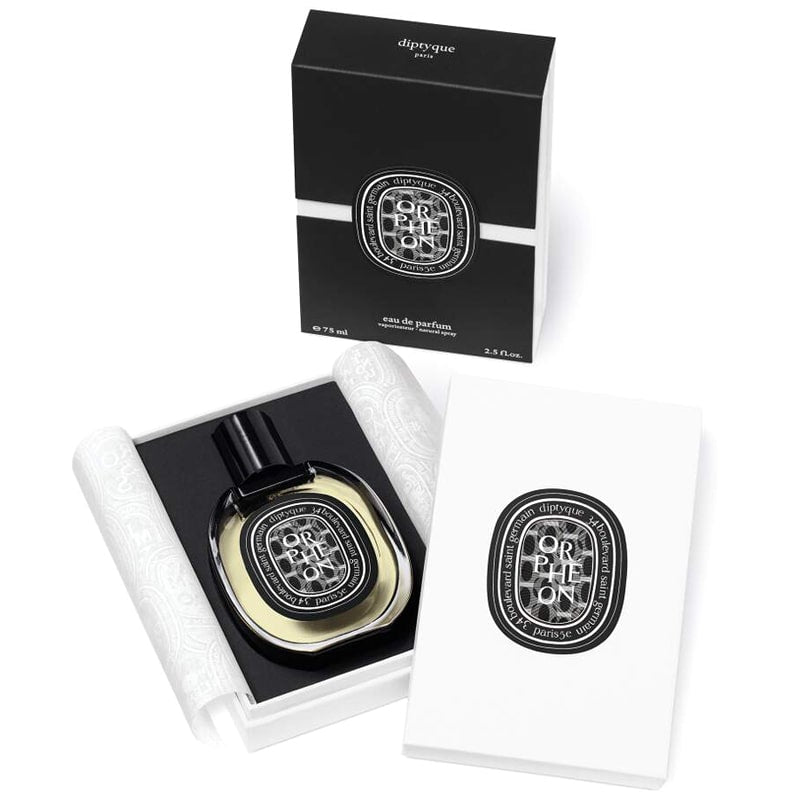Diptyque Orpheon Eau de Parfum (75 ml) bottle shown in box with lid off