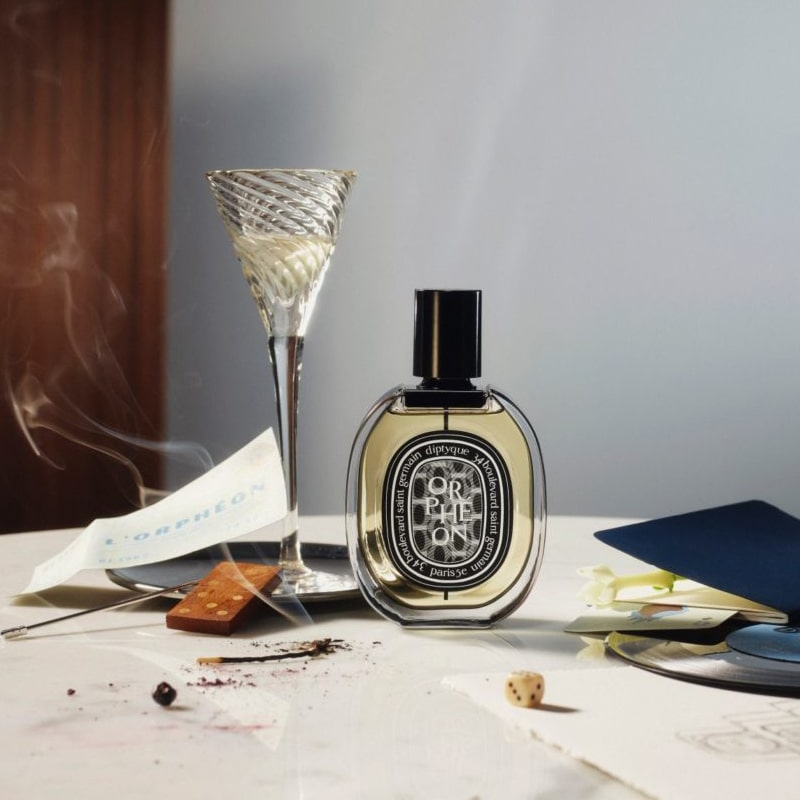 Lifestyle shot of Diptyque Orpheon Eau de Parfum (75 ml) bottle
