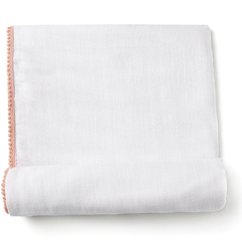 Luxe Silky Soft Bamboo Cotton Swaddle – Peach Pom Pom Trim (1 pc)