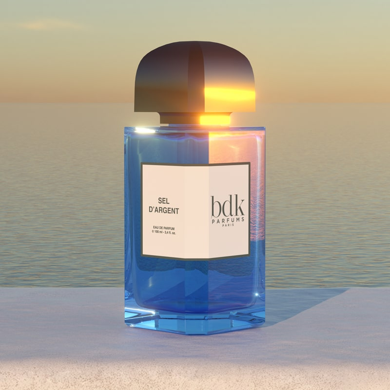 BDK Parfums Sel d'Argent Eau de Parfum beauty shot with ocean in background
