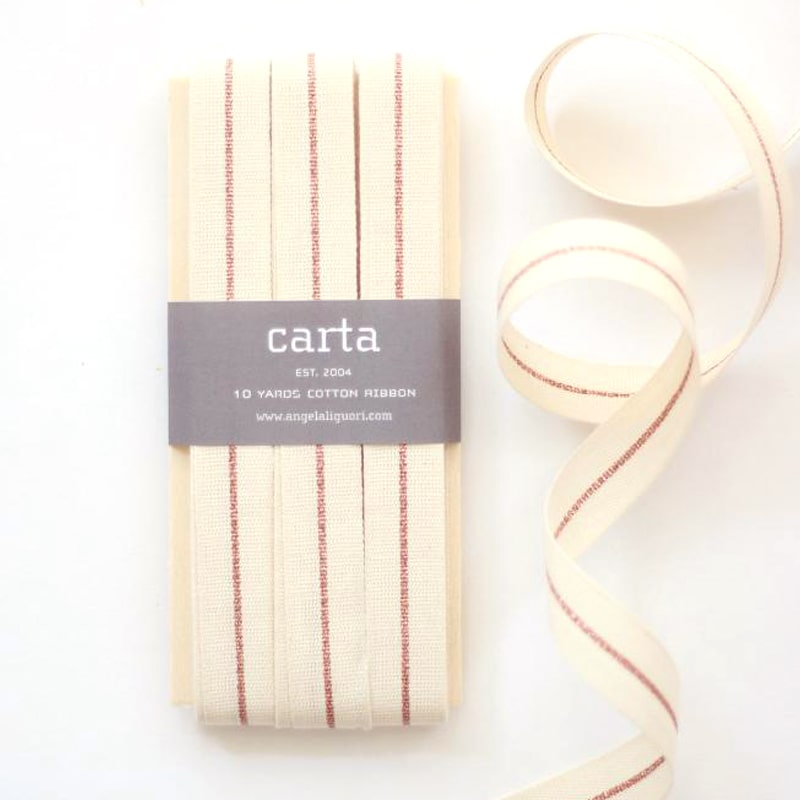 Studio Carta Metallic Line Tight Weave Ribbon - Natural/Rose Gold (10 yds)