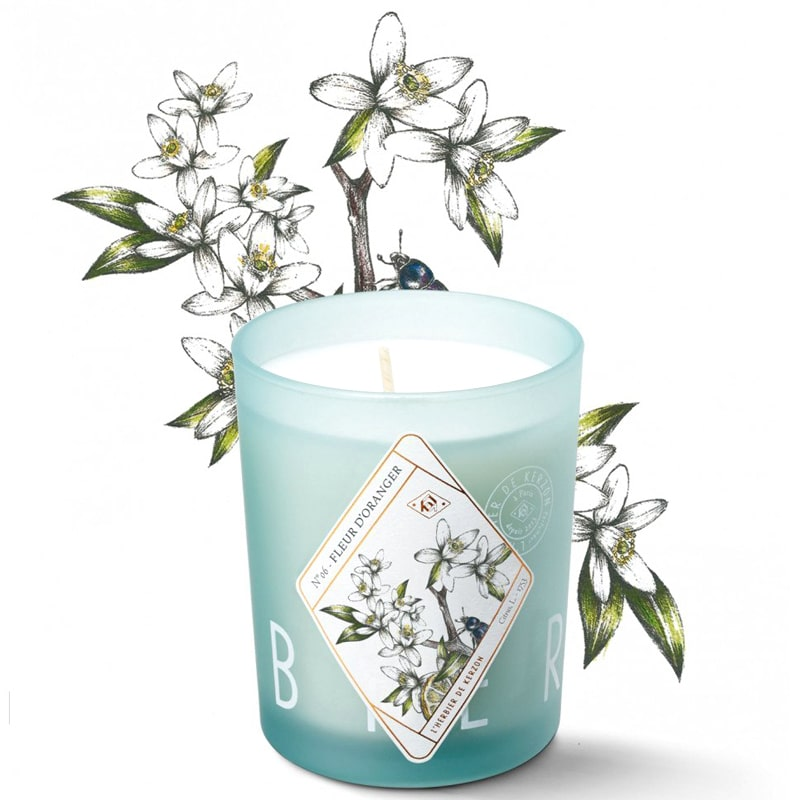 Kerzon Fragranced Candle - Fleur d'Oranger (190 g) with floral sketch in the background