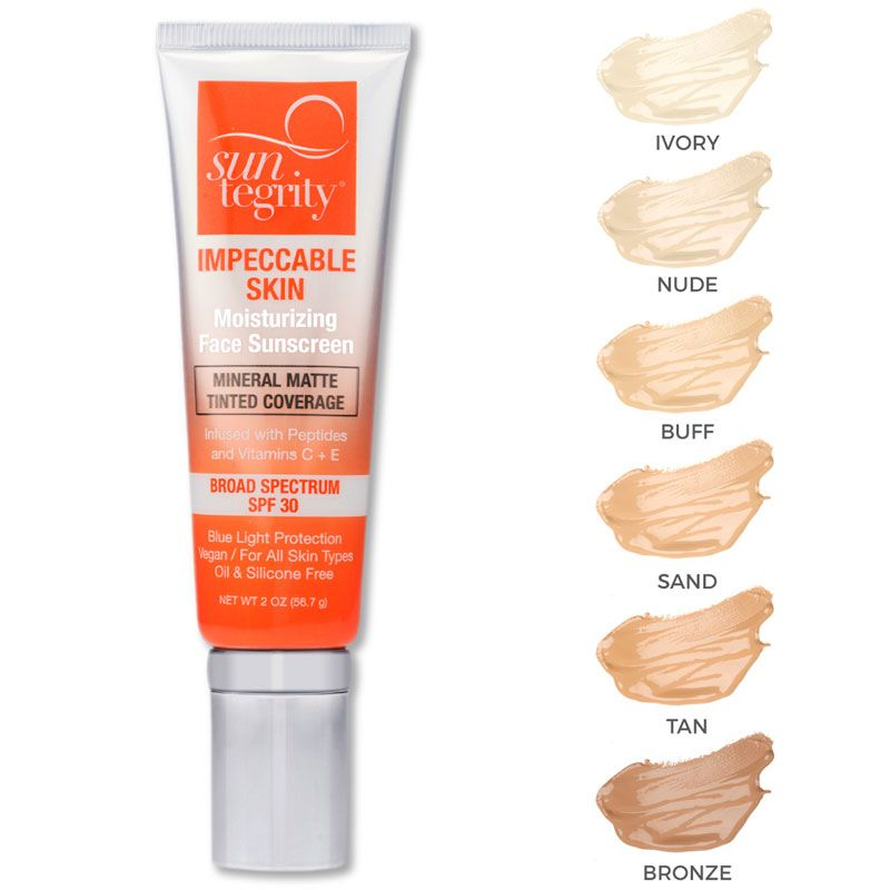 Suntegrity Impeccable Skin SPF 30 showing all color options (30 ml each)