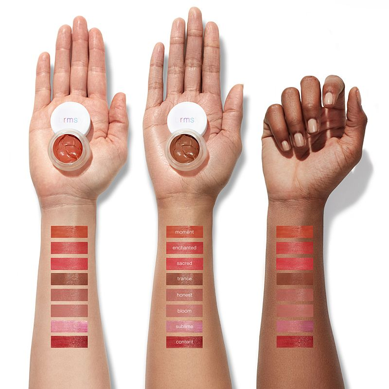 RMS Beauty Lip Shine color swatches shown on various skin tones (fair, medium, dark)