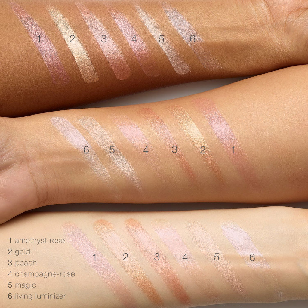 color smears on 3 different skin tones