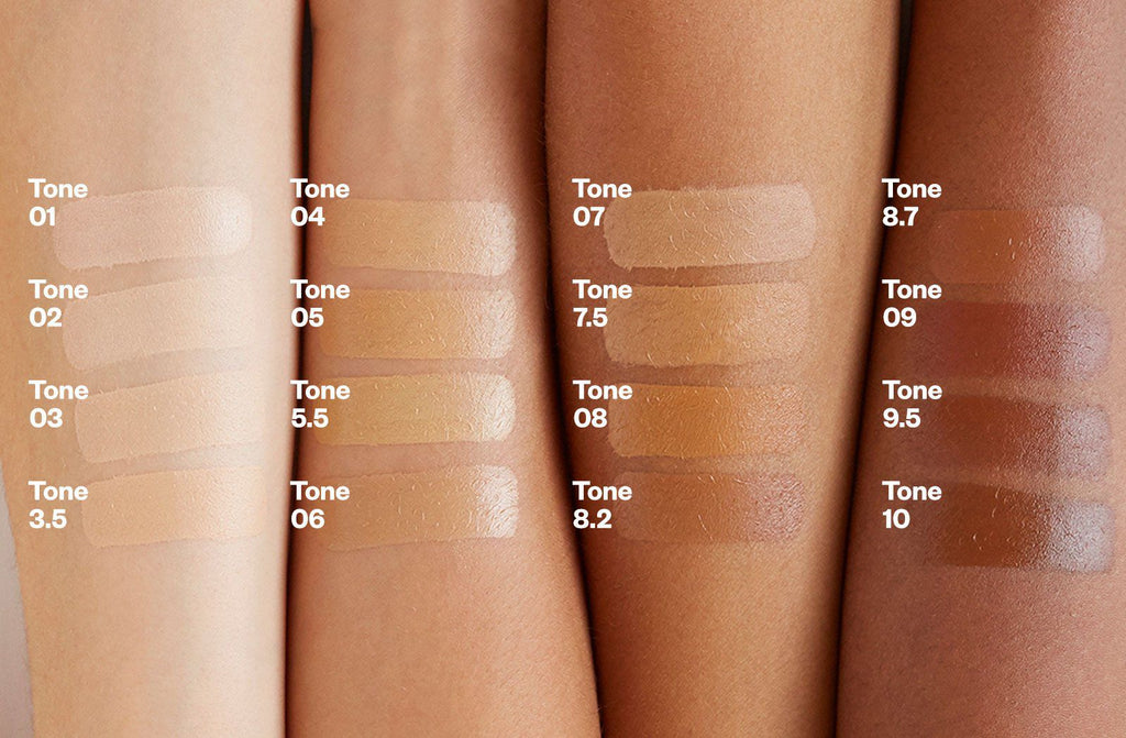 Kosas Tinted Face Oil Foundation Color Chart with color bars on model arms