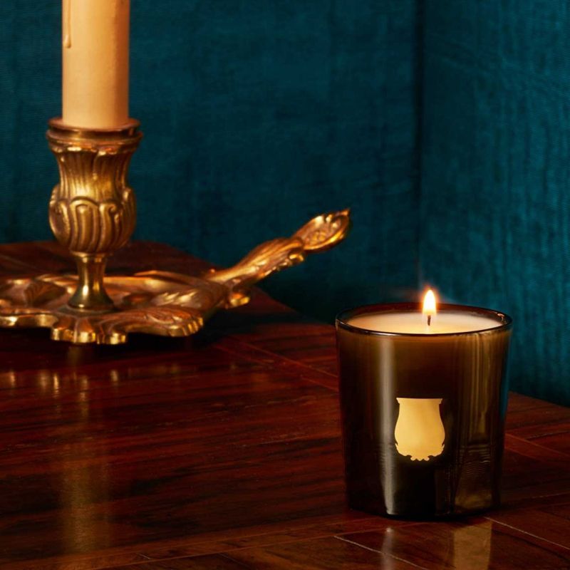 Cire Trudon Odalisque Petite Candle lifestyle shot with candle burning on wood table
