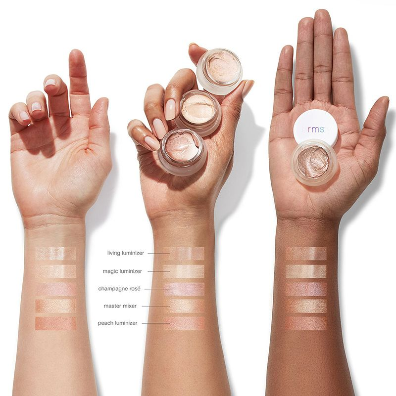 RMS Beauty Master Mixer swatches shown on various skin tones (fair, medium, dark)