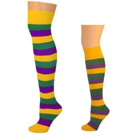 Fall Colors Striped Socks Family Pack (Purple/Gold/Green)
