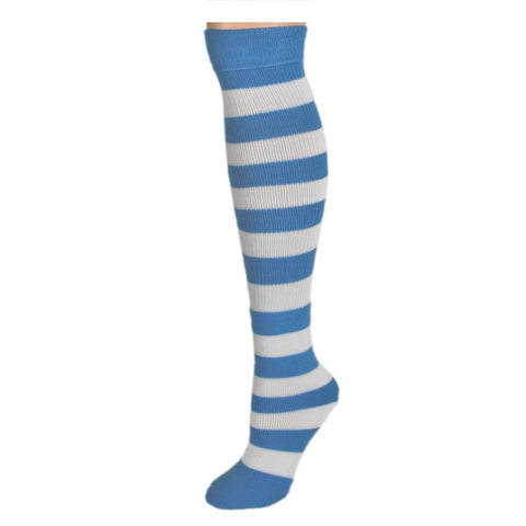 Adults Striped Knee Socks - Baby Blue/White