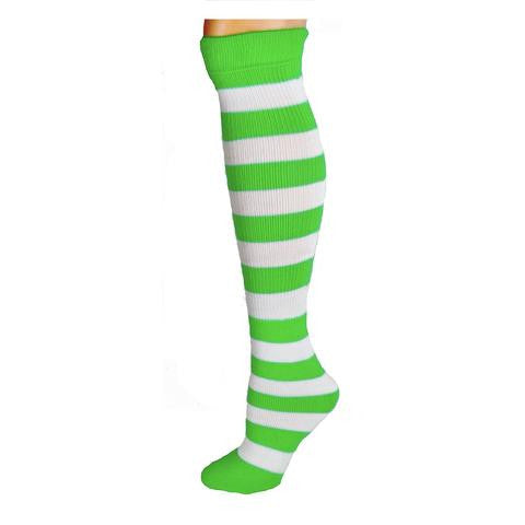 Adults Striped Knee Socks - Lime/White