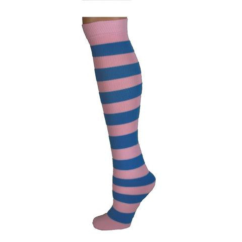 Adults Striped Knee Socks - Baby Pink/Baby Blue