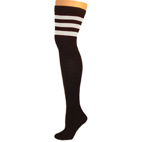Retro Tube Socks - Black w/ White (Thigh High)