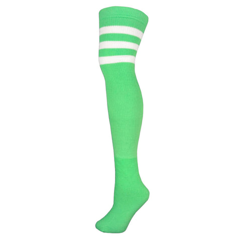 Retro Tube Socks - Lime w/ White (Thigh High)