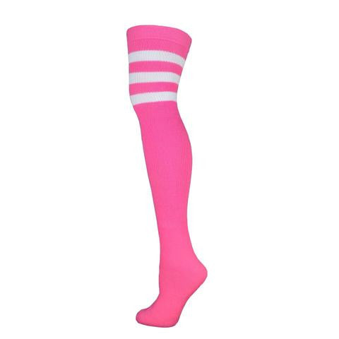 Retro Tube Socks - Pink w/ White (Thigh High)