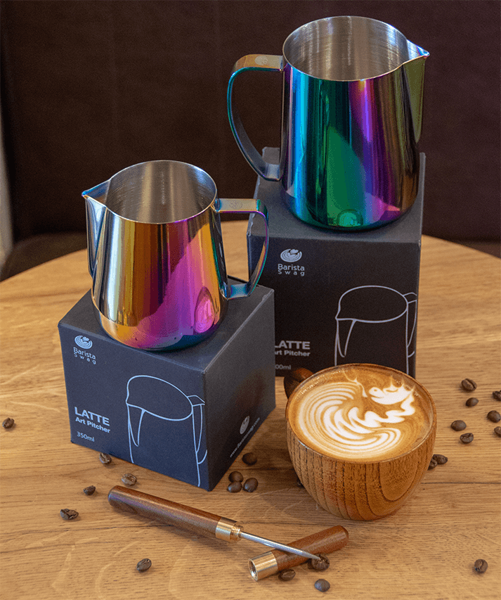 Ultimate Latte Art Set - Ultra Sharp 2.0 Set + Wooden Pen + Wooden Cup | Best Stainless Steel Milk Pitchers