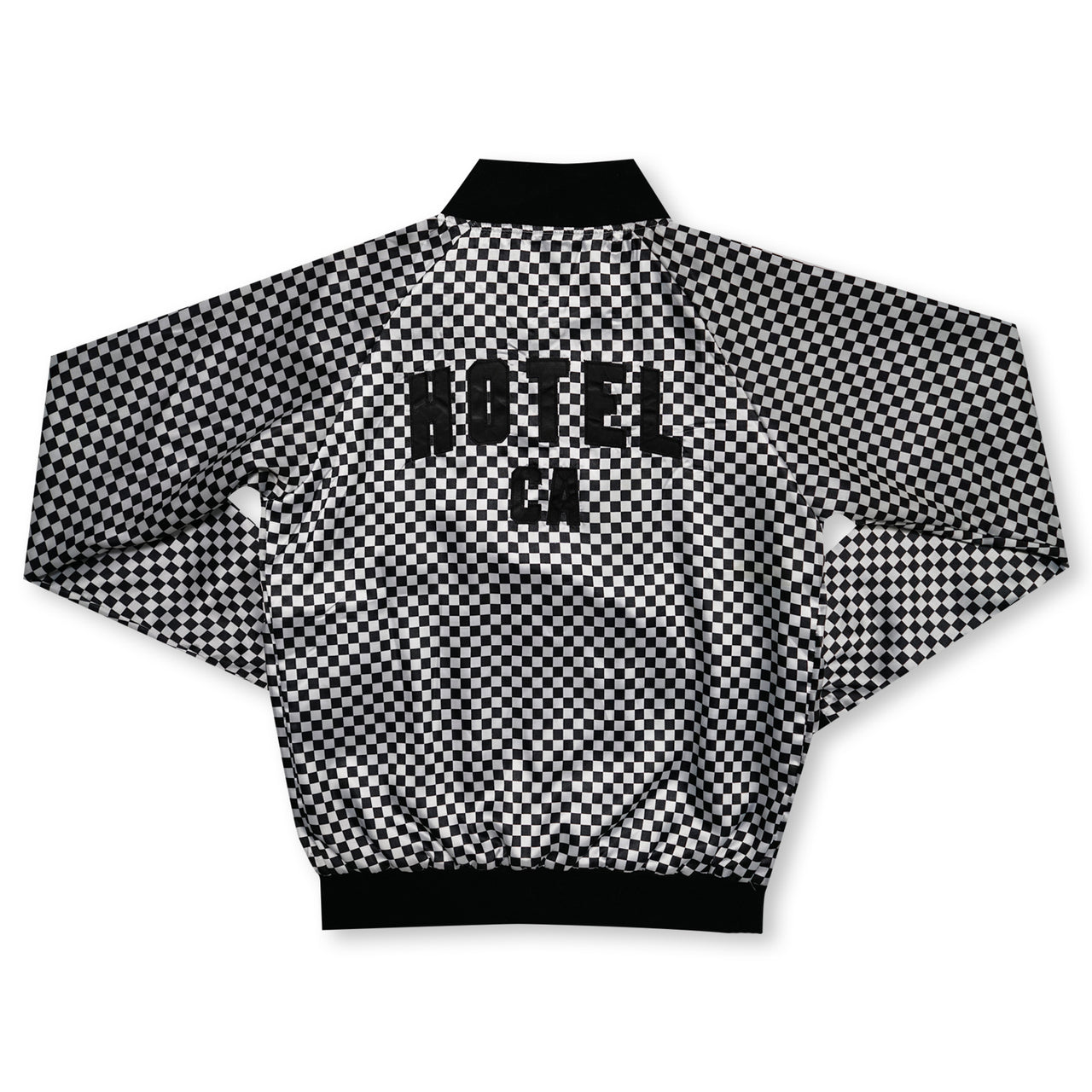 HOTEL CA Checkered Bomber Jacket - Black / White