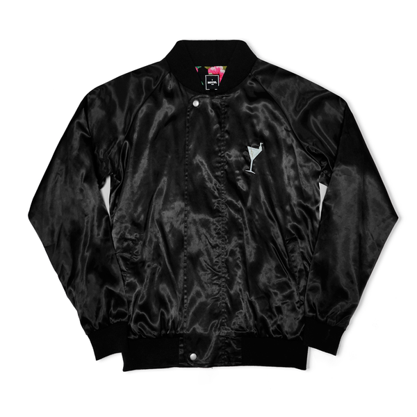 HOTEL Cocktail Satin Bomber Jacket - Black/Floral