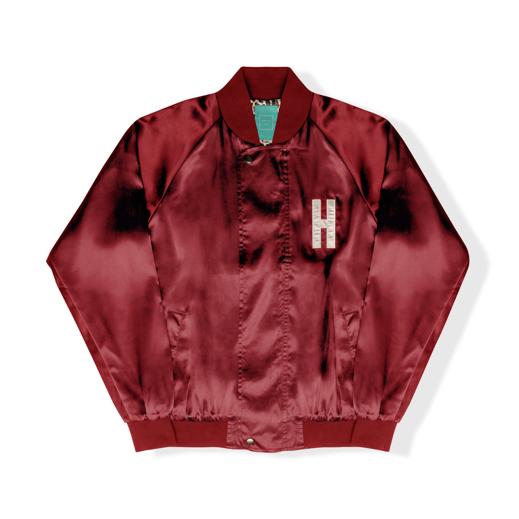 HOTEL CA Satin Jacket - Cabernet/Cheetah