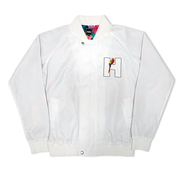 Stay Awhile Hotel Nylon Jacket - White