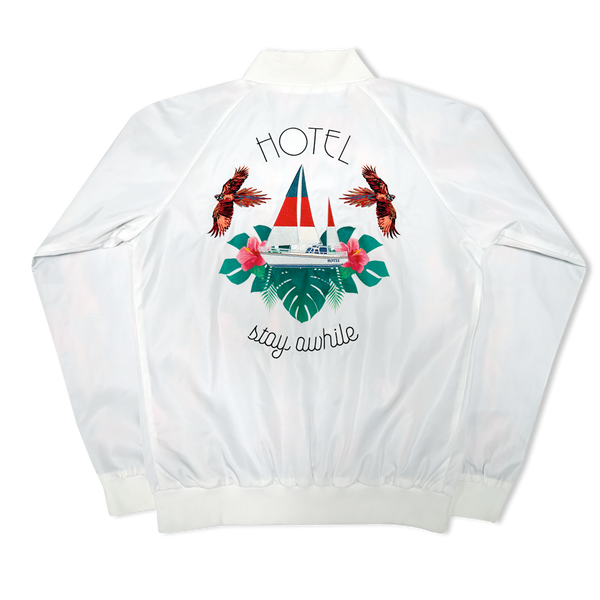 Stay Awhile Hotel Nylon Bomber Jacket - White