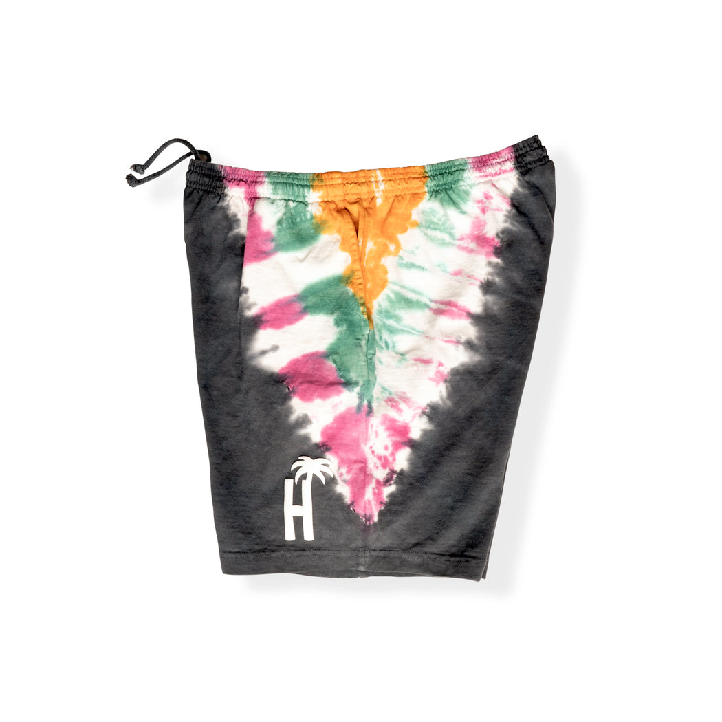 DAY TRIP TIE DYE SHORTS - BLACK