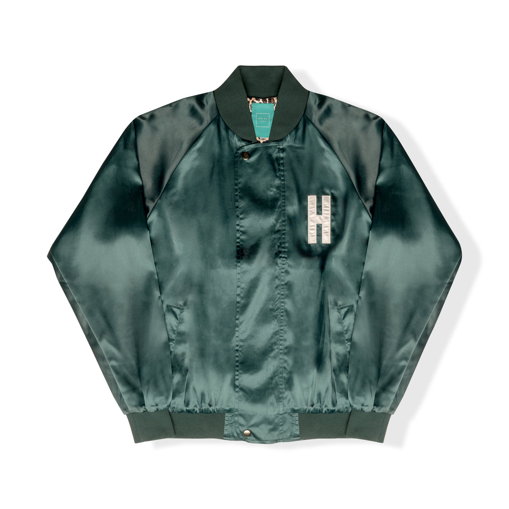 HOTEL CA Satin Jacket - Emerald/Cheetah
