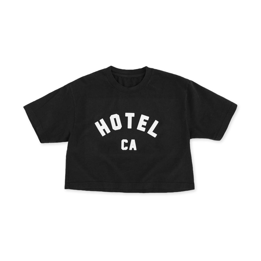 HOTEL OVERSIZED CROP T-SHIRT - BLACK