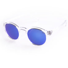 Flare eyewear hipster round sunglasses with blue mirrored lenses