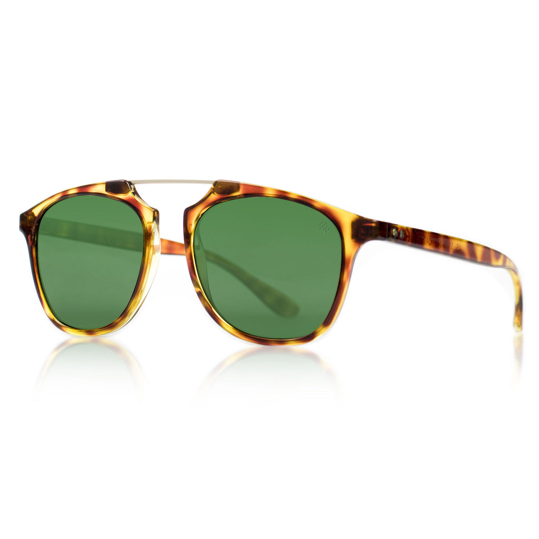 Flare Eyewear round sunglasses with green lenses and tortoise vintage frame