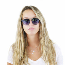 Maxine Scacchi in our Acapulco with blue gradient lenses